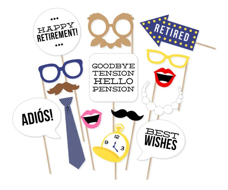 Printable Retirement Photo Booth Props - Retirement Party Photobooth Props - Retirement Party Decorations - Retirement Photo Props by PrintablePropShop on Etsy https://www.etsy.com/listing/233060073/printable-retirement-photo-booth-props