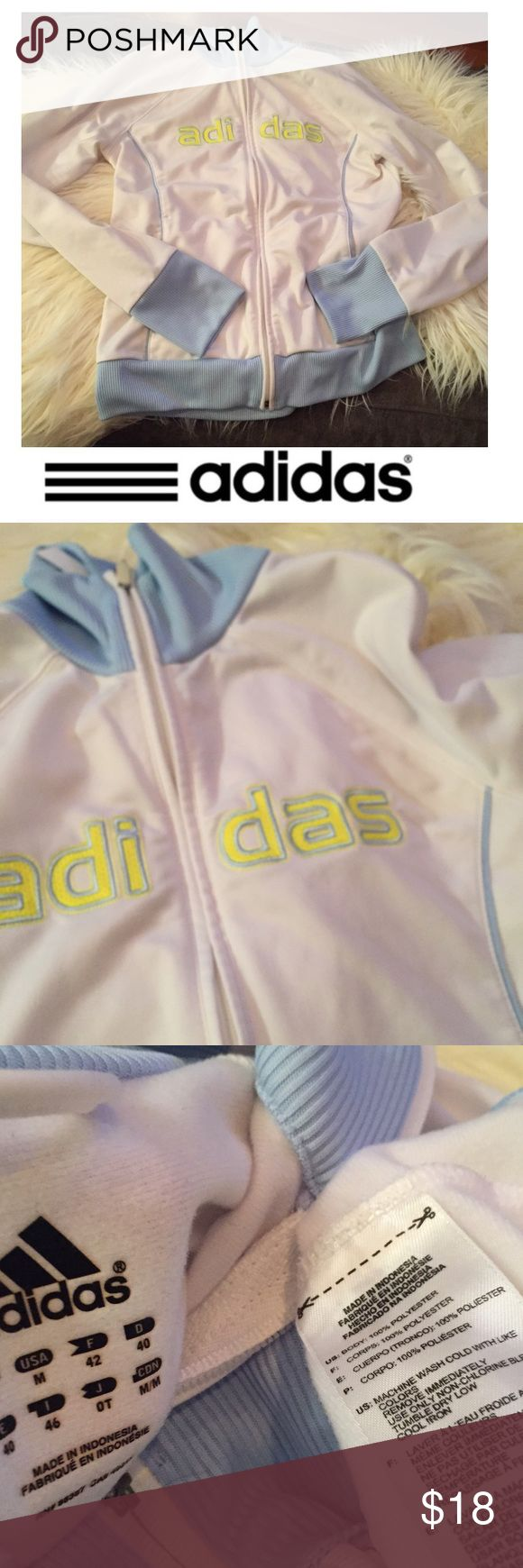 Adidas White & Baby Blue Zip Up Athletic Jacket Adidas White & Baby Blue Zip Up Athletic Jacket. 18 inch bust. 24 inches long. Yellow letting. Gently worn. Great condition. Feel free to make an offer or bundle & save! Adidas Jackets & Coats