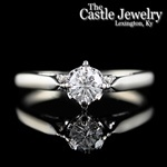 Illusion Set Round .49 C Diamond Solitaire 14 K Cathedral Engagement Ring
