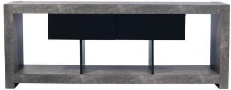 TemaHome Nara Modern TV Table Stand - Concrete and Matt Black