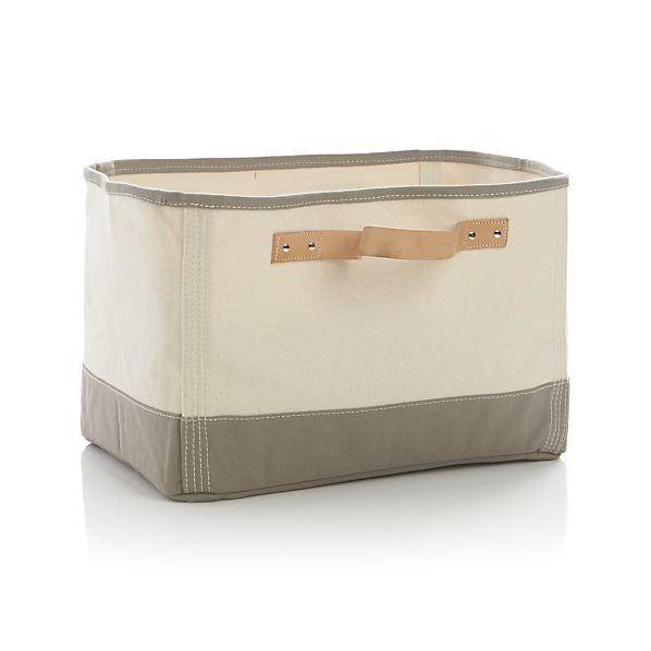 Medium zuzu basket with handle leather crate and barrel - Crate and barrel bathroom vanities ...