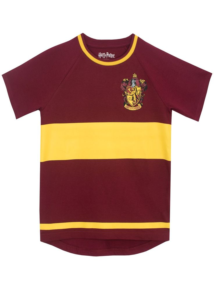 Shop this enchanting kids Harry Potter short sleeve top in the signature Gryffindor colours burgundy and yellow. Available in sizes 5 to 13 Years.