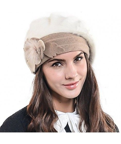 6bd852a06e8  Lady French Beret Wool Beret Chic Beanie  Winter  Hat Jf-br034  (BR022-Cream Angora)