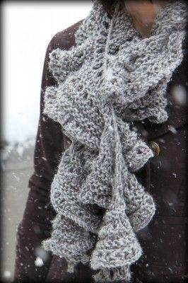 Grey ruffled scarf