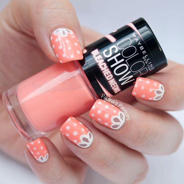 Girly Nails with Maybelline Bleached Neons – Coral Heat - Paulinas Passions