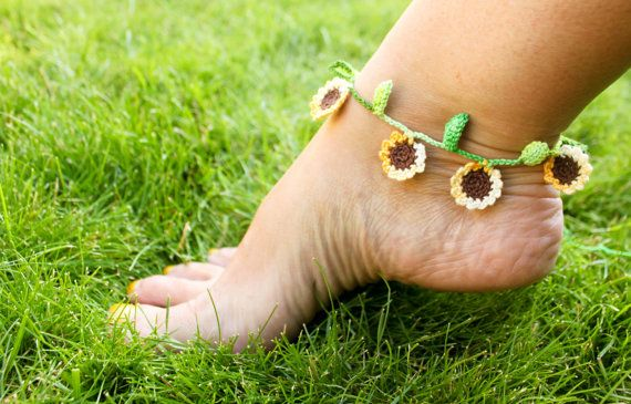 Sunflower Ankle Bracelet Crochet by smileywileys on Etsy