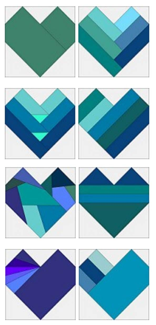 = free patterns = many different Heart blocks by Sandi Walton at Piecemeal Quilts
