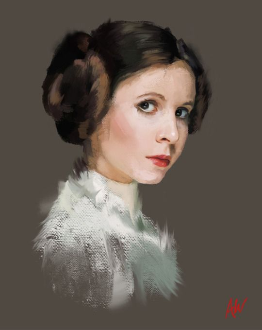 Beautiful Portraits by Andra Watson This depiction of Leia gives the impression of a nineteen year old girl or even younger cause in the star wars timeline, in the beginning of the New Hope, Leia is nineteen as is her twin brother Luke.