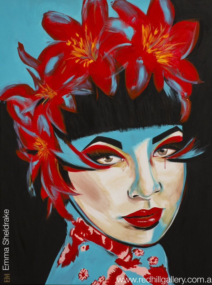 "Emma Sheldrake ""Tiger Lily"" painting. Red Hill Gallery, Brisbane. www.redhillgallery.com.au"