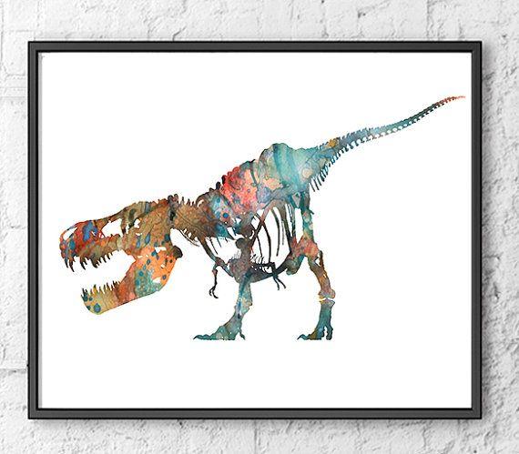 Dinosaur Art Print Kids Wall Decor Children Art by Thenobleowl