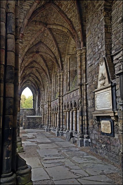 "Holyrood Abbey, Scotland. Ris an old word for a type of Christian cross, bearing a lower cross-bar as well as the main upper cross-bar. It therefore means the cross which Jesus Christ was crucified upon; thus the name Holyrood is equivalent to ""Holy Cross."""