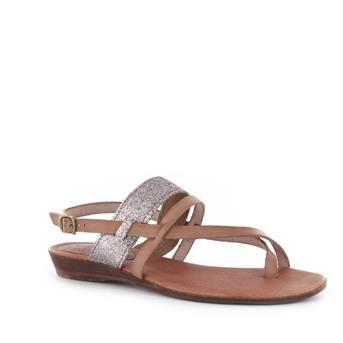 Bruine lederen sandalen met glitterbandje | Le Routard Maike | Brantano