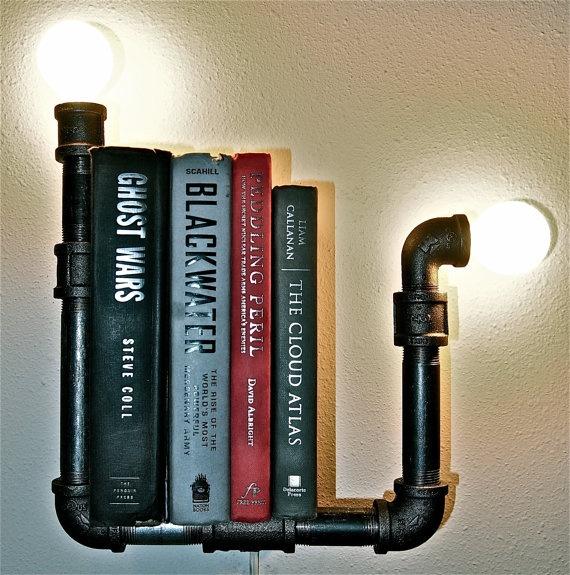 Pipe + Lights = interesting shelf