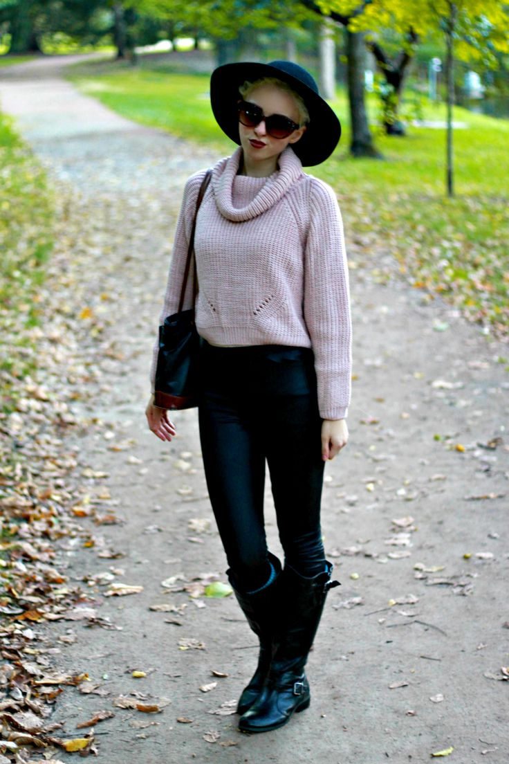 ways to wear leather for fall, fall leather outfit ideas, sweater ...