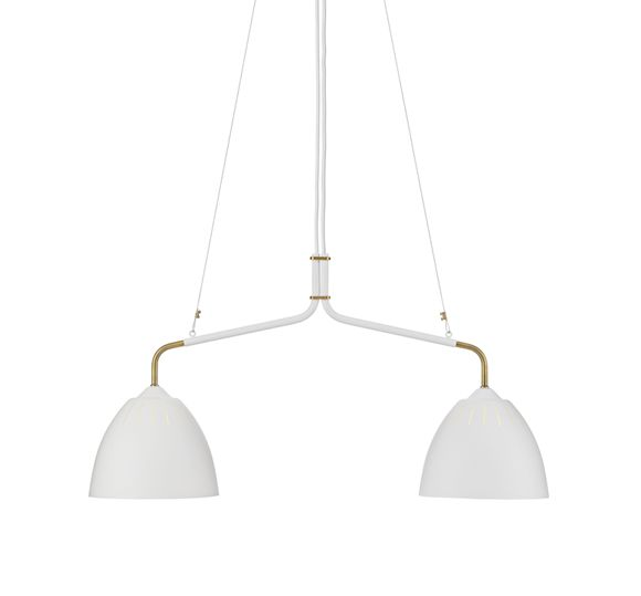 Lean is a lamp serie with retro-modern appeal and takes its name from its leaning stance. Lean is produced in powder-coated metal and brass, with a handle in rubber. Since it's release Lean has won a wide number of fans. Ceiling version.