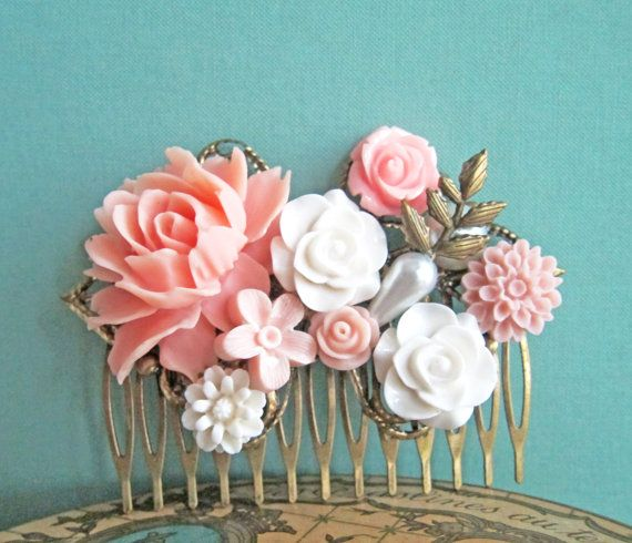 Pink Hair Comb Shabby Chic Wedding Hair Comb Bridesmaids Haircomb Blush Pink Cream White Ivory Spring Garden Tea Party