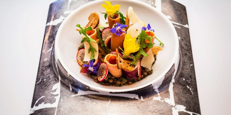 An intricate salad recipe from Xavier Boyer, with shaved foie gras, smoked duck breast, puy lentils and a spicy wasabi dressing.
