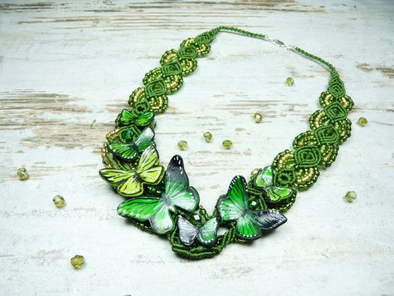 Handmade necklace with butterflies macrame by KAMELEONjewelryART
