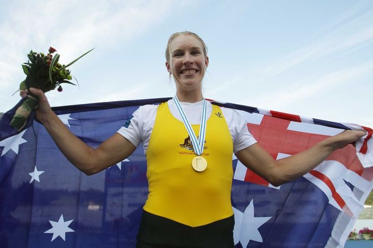 Crow shows off her gold medal - Kim Crow of Australia poses with her gold medal after winning the women's single sculls final during day eight of the 2013 world rowing championships, September 1, 2013 in Chungju, South Korea.
