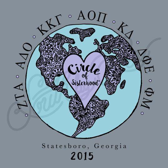 Sorority Recruitment Circle of Sisterhood Globe Heart South By Sea