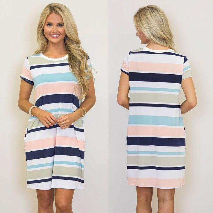 2017 Summer Women's Striped Short Sleeve Tops Casual Loose T-Shirt Mini Dresses