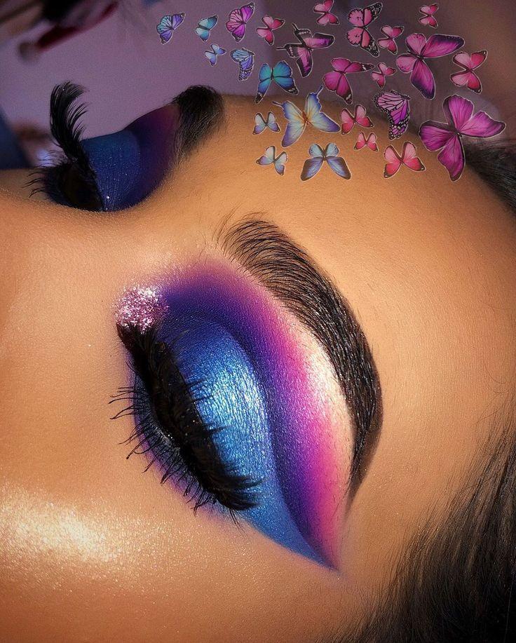 Blue Purple Pink Eyeshadow With Glitter In The Inner Corner