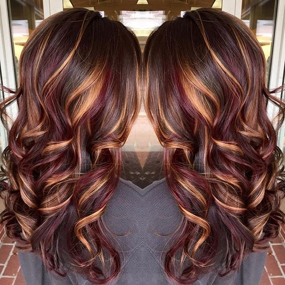 Color Hairstyles top brunette hair color ideas to try 2017 7 Burgundy Hair Color With Blonde Highlights