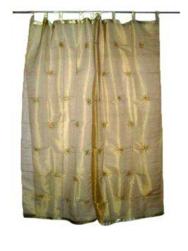 Amazon Com 2 India Curtains Organza Golden Floral Mirror