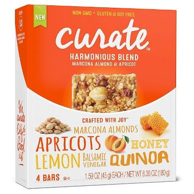 Curate Harmonious Blend Marcona Almond & Apricot Nutrition Bar 4 ct