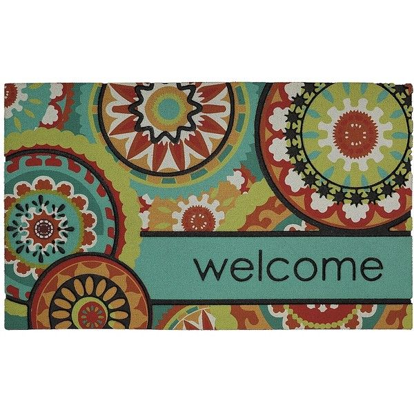 Aztec Medallion Welcome Doormat ($15) ❤ liked on Polyvore featuring home, outdoors, outdoor decor, outdoor patio decor, outdoor garden decor, outside door mats, outdoor rubber mats and welcome doormat