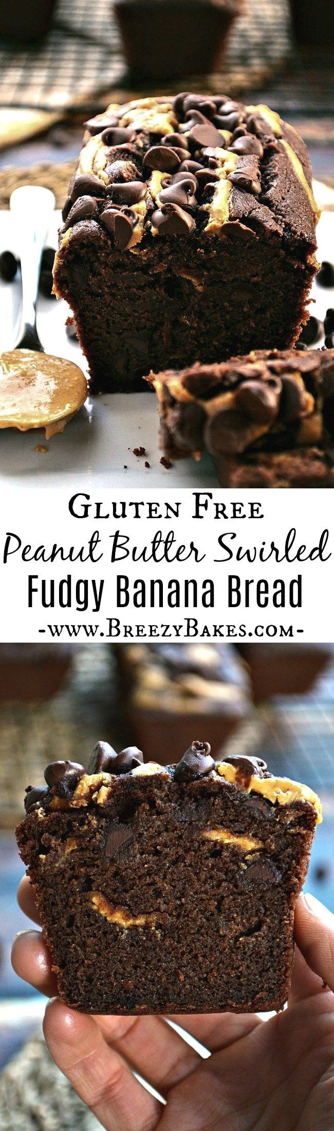Indulge in this Gluten Free Chocolate Banana Bread with Peanut Butter Swirl for your next sweet breakfast or afternoon snack. It's perfectly fudgy with pockets of melted chocolate chips and a drizzle of peanut butter on top.