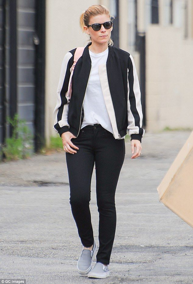 Poise: Kate Mara rocked a black and white bomber jacket as she stepped out in LA following charity trip to Liberia