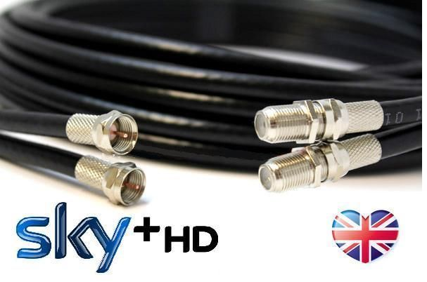 BLACK 10m TWIN Satellite Coaxial Extension Cable - suitable for Sky+ and Sky HD in Sound & Vision, TV Reception & Set-Top Boxes, Other TV Receivers/Reception   eBay
