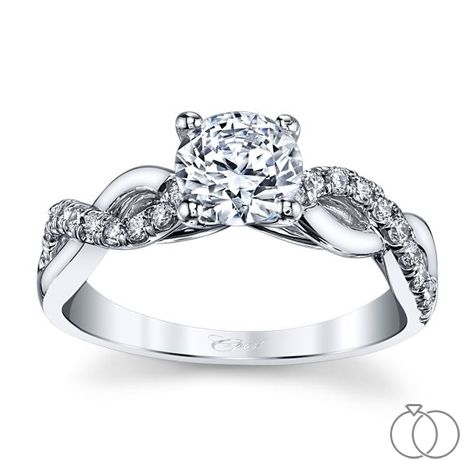 Captivating and elegant, this Coast Diamond engagement ring has a twisted infinite band of interchanging diamonds and polished metal. Robbins Brothers Sku: 0415184