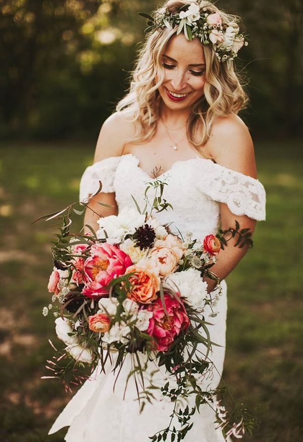 Romantic Flower Crown Off The Shoulder Boho Wedding Dress