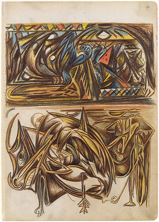 Untitled / Jackson Pollock / c. 1938-41 / colored pencils and graphite on paper / at the Met