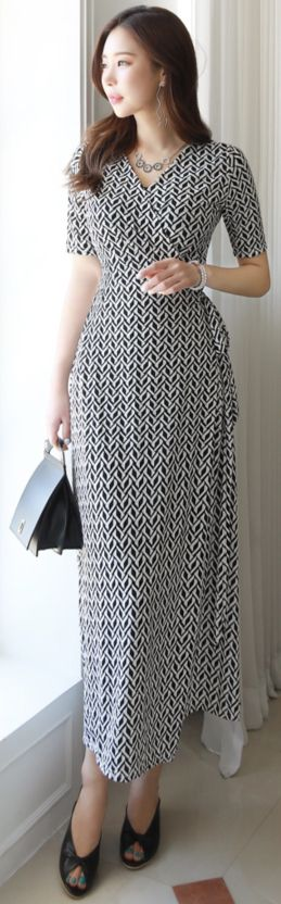 StyleOnme_Ethnic Print Long Wrap Dress #patterned #wrap #dress #feminine #koreanfashion #kstyle #kfashion #springtrend #dailylook