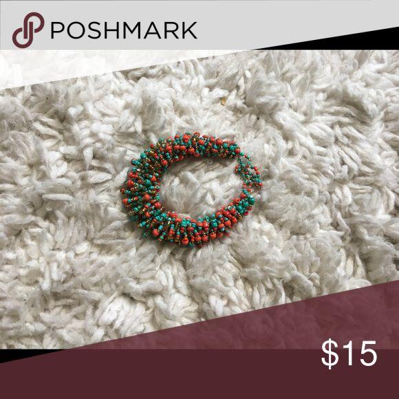 Multicolored beaded bracelet Beaded bracelet. (Red, gold, turquoise) Jewelry Bracelets