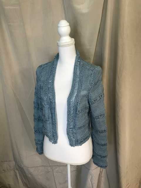 Steel Blue Cardigan Hand Knit cropped bolero long sleeve 0