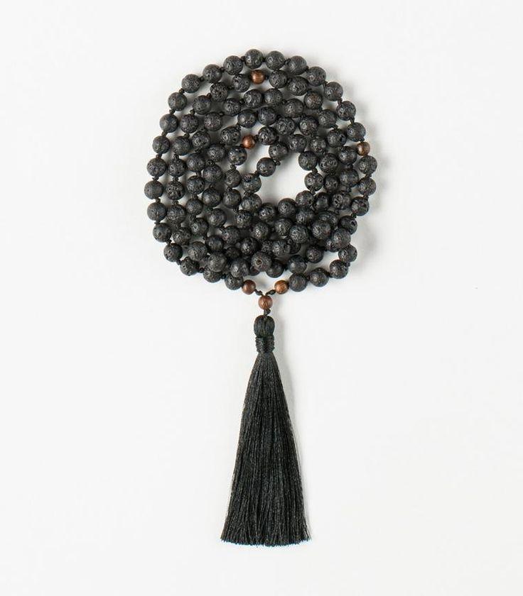 'I am Strong' Mala - 108 Lava Rocks beads Tibetan Buddhist Mala with Wood