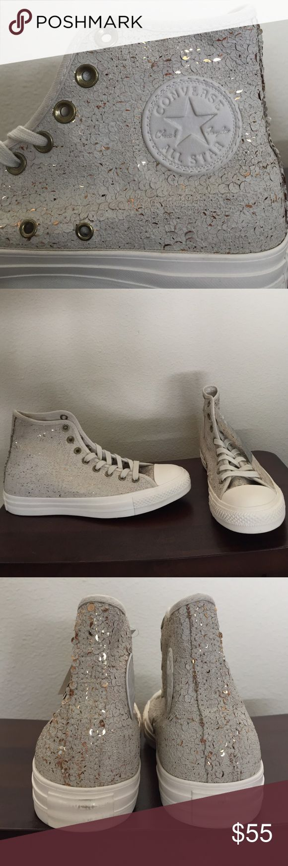 Chuck Taylor distressed sequin hi tops These Converse hi tops are a distressed sequin look. They have gold sequins with white distressing painted over them. They have never been worn. The heels have a little bit of scuffing to add to the distressed look. They are unique and so cute!! Converse Shoes