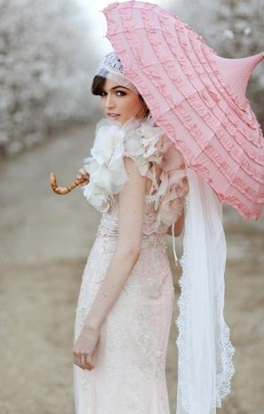 Glamorous Almond Orchard Wedding With Pink Details and a Bella Umbrella