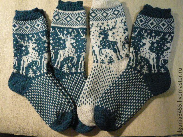 Купить Носочки для всей семьи - носки вязаные, носки с оленями, носочки шерстяные, носки с орнаментом