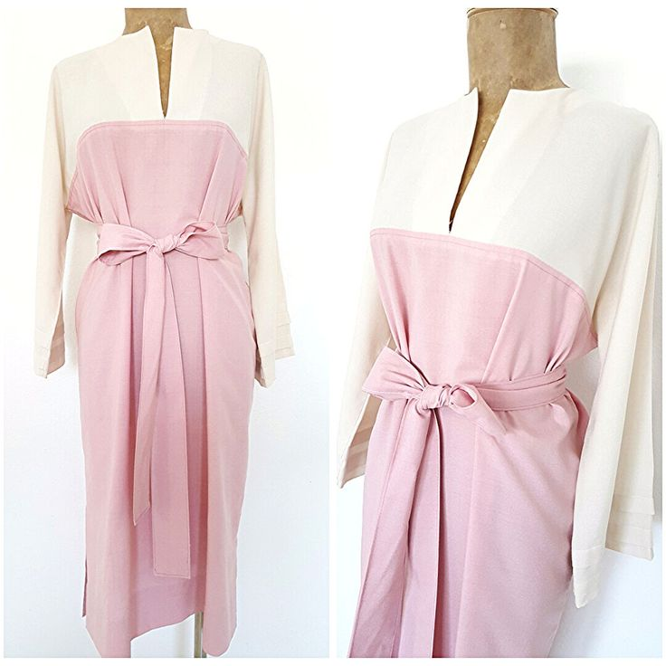 Vintage 80s Belted Shift Dress Size XLarge Pink Festive Knee Length Career Pleat #Unknown #ShirtDress #Festive