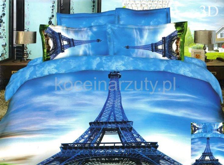 Elegancka niebieska pościel z wieżą Eiffla