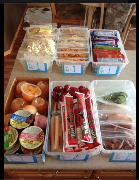 Love how the child can help pack lunch by picking one item from each bin