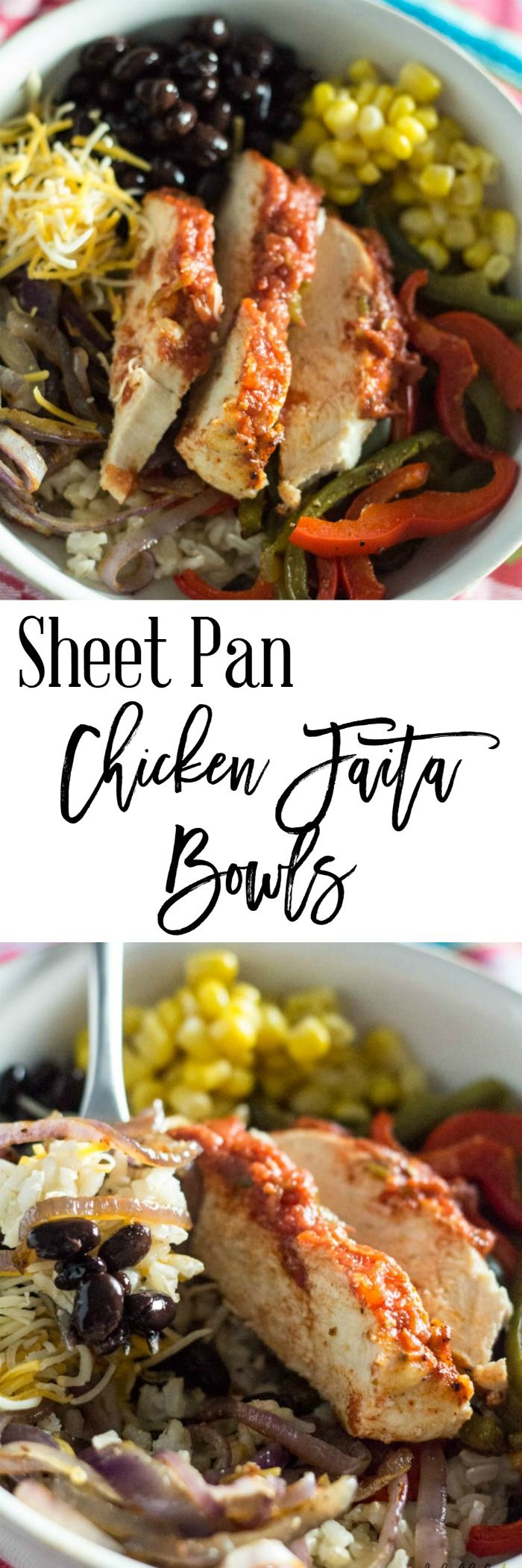 This easy sheet pan chicken fajita bowl recipe is perfect for your family. It's easy to make and only 6 SmartPoints per serving on Weight Watchers. http://dashofherbs.com/sheet-pan-chicken-fajita-bowl/