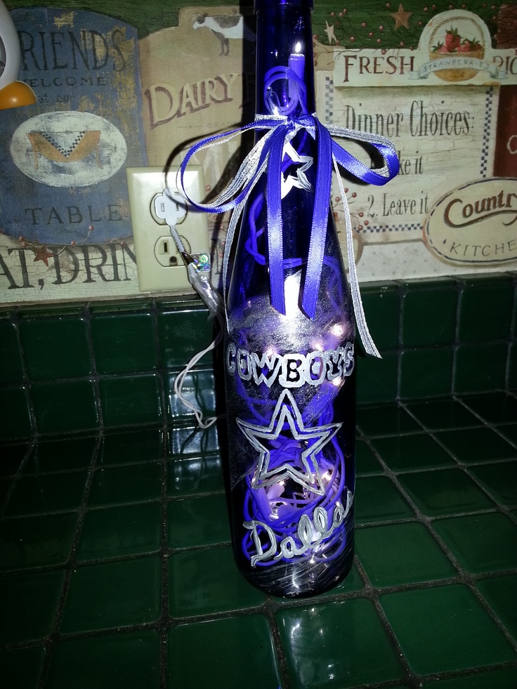 Dallas Cowboys Bottle Light My Hand Painted Glass By Mss