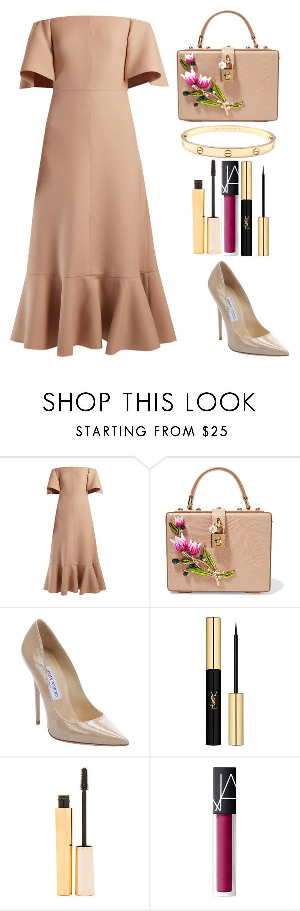 """Style #392"" by maksimchuk-vika ❤ liked on Polyvore featuring Valentino, Dolce&Gabbana, Jimmy Choo, Yves Saint Laurent, Stila, NARS Cosmetics and Cartier"