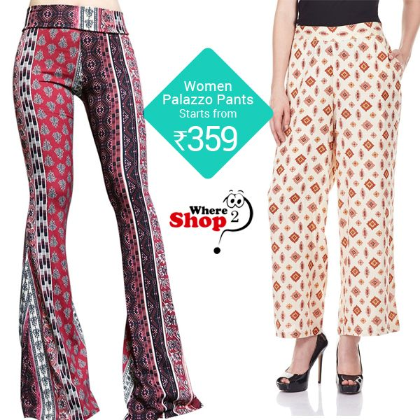 Buy stylish printed women's palazzo pants, designer palazzos, basic black palazzo pants online at best price in India.